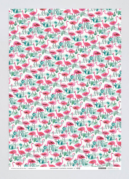 Flamingos Wrapping Paper x 3 Sheets
