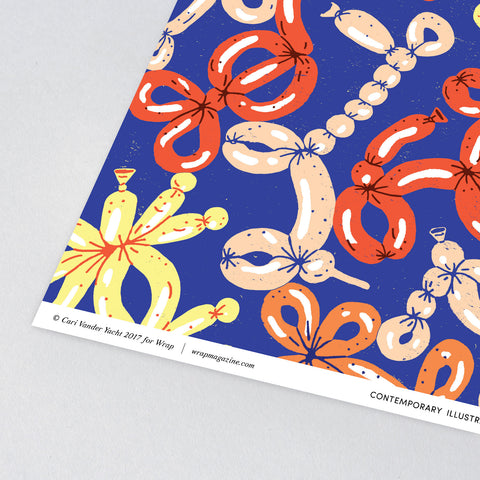 Balloon Animals Wrapping Paper x 3 Sheets