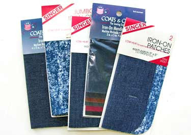 10 Packagerd of Singer Iron-On Mending Patch Assortment