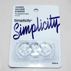 Simplicity Transparent Sewing Machine Bobbin, 3pk (Case of 48)*