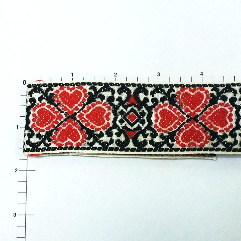 "Four Hearts & Scrollwork Jacquard 1-5/8"" (Per Yard) Red/Black"
