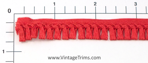 "Rayon Flat Loop Fringe 1/2"" (Per Yard) Red"