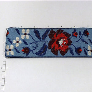 "Floral Jacquard 2-1/4"" (Per Yard) Royal/Burgundy/Red/Blue"