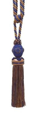 "Baroque Collection 10"" Single Tieback/Tassel, Navy Taupe"