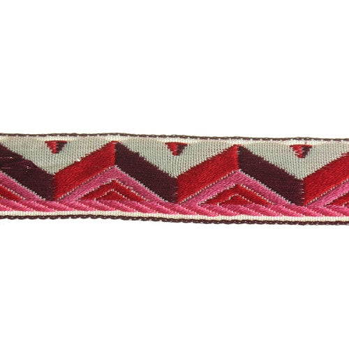 Pyramid Jacquard Fabric Trim, 36 Yards (1 Roll)| Color| Pink w/ Red