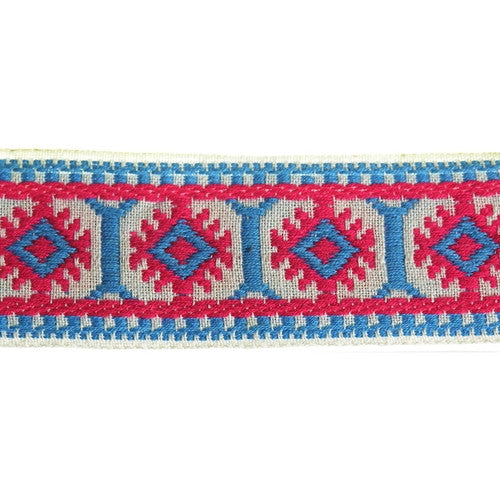 Wide Pillar Jacquard Fabric Trim, 36 Yards (1 Roll)| Color| White with Blue and Pink
