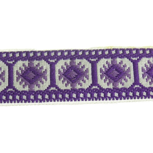 Wide Pillar Jacquard Fabric Trim, 36 Yards (1 Roll)| Color| White with Dark and Light Purple