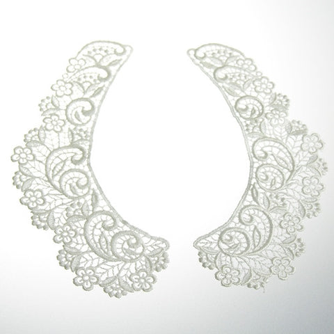 Venice Collar Pieces (Case of 12 Pairs)White