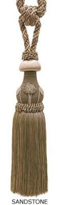 "Baroque Collection 10"" Single Tieback /Tassel, Sandstone"