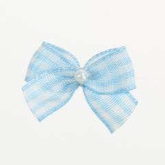 "Checkered Bow Tie w/ Tails & Pearl, 1"" (Box of 144) 6 Colors (#53)"