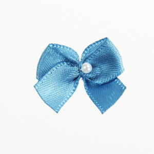 "Satin Bows w/ Tails & Pearl, 1"" (144 per bag) 26 Colors (#57)"
