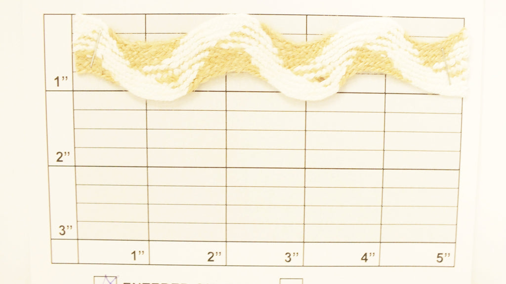 "Decorative Ric Rac 1-1/8"" (Per Yard) White/Jute"