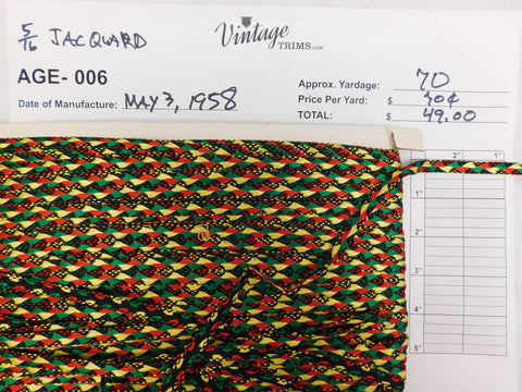 "Card of 5/16"" Multi-Colored Jacquard (approx. 70 yards)"