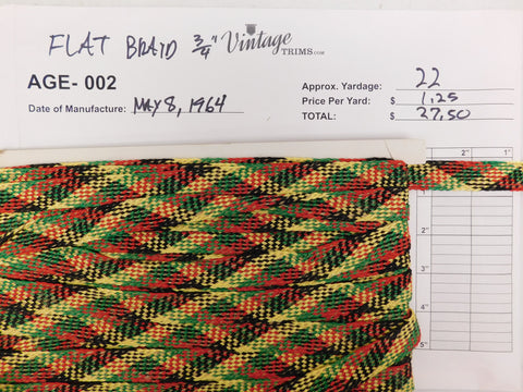 "Card of 3/4"" Multi-Colored Flat Braid (approx. 22 yards)"