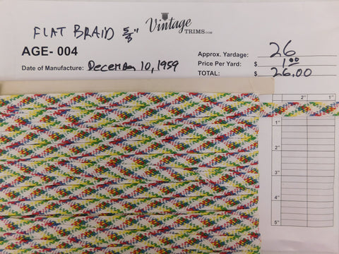 "Card of 5/8"" Multi-Colored Flat Braid (approx. 26 yards)"