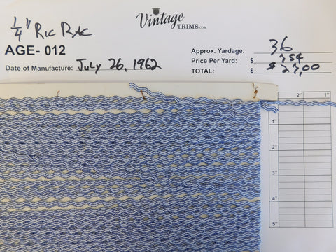 "Card of 1/4"" Blue and White Ric Rac (approx. 36 yards)"