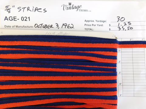 "Card of 5/8"" Red and Blue Stripes (approx. 30 yards)"