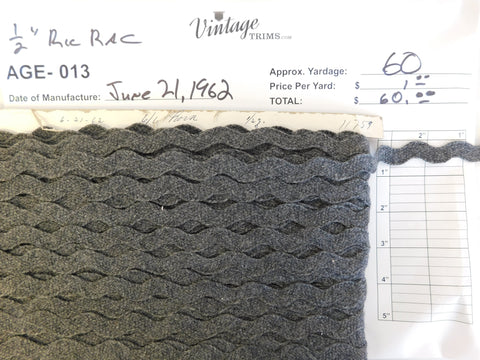 "Card of 1/2"" Gray Ric Rac (approx. 60 yards)"