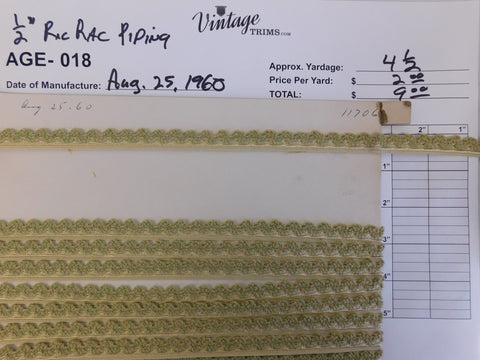 "Card of 1/2"" Green and Gold Ric Rac Piping (approx. 4 1/2 yards)"
