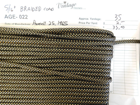 "Card of 5/16"" Black and Gold Braided Cord (approx. 35 yards)"