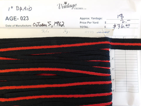 "Card of 1"" Black and Red Braid (approx. 18 yards)"