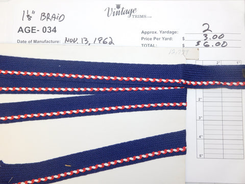 "Card of 1 1/8"" Navy with Red and White Braid (approx. 2 yards)"