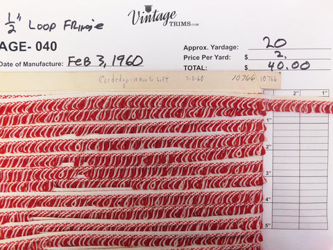"Card of 1/2"" Red and White Loop Fringe (approx. 20 yards)"