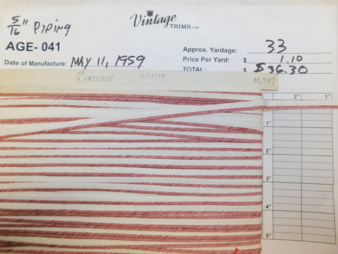 "Card of 5/16"" Red and White Piping (approx. 33 yards)"