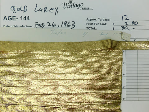 "Card of 3/4"" Gold Lurex (approx. 12 yards)"