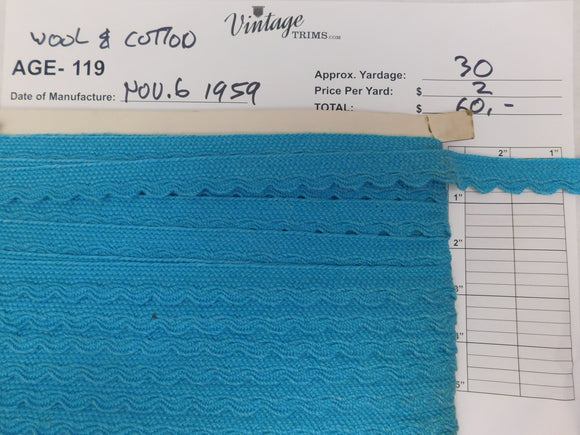 Card of Blue Wool and Cotton (approx. 30 yards)