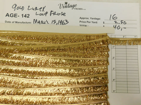 "Card of 3/4"" Gold Lurex Loop Fringe (approx. 16 yards)"