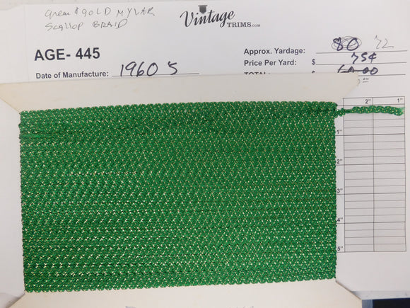 Card of Green & Gold Mylar Scallop Braid (approx. 72 yards)