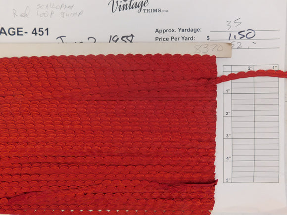 Card of Red Scalloped Loop (approx. 35 yards)