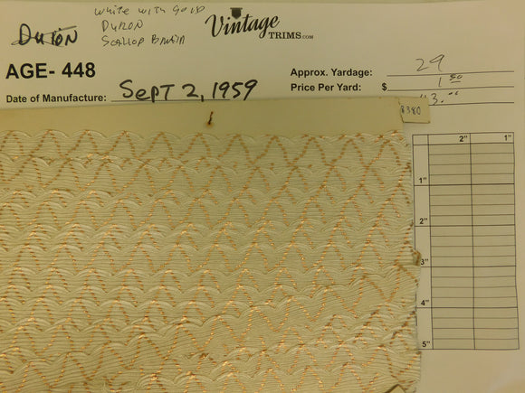Card of White with Gold Duron Scallop Braid (approx. 29 yards)