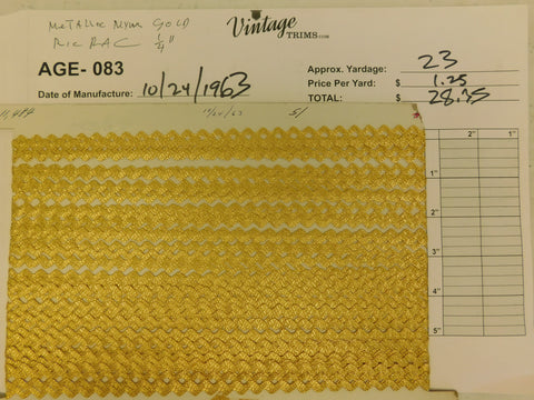 "Card of 1/4"" Gold Metallic Mylar (approx. 23 yards)"