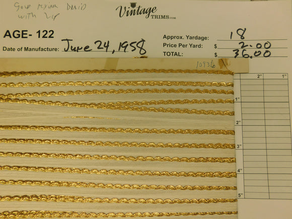 Card of Gold Mylar Braid with Lip (approx. 18 yards)