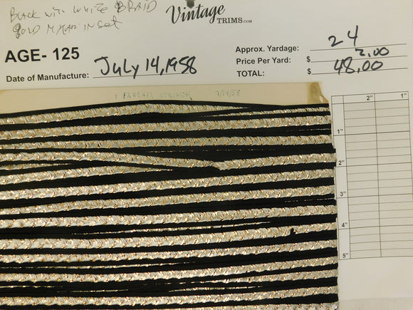 Card of Black with White Braid/Gold Mylar Inset (approx. 24 yards)