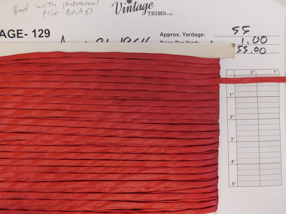 Card of Red with Iridescent File Braid (approx. 55 yards)
