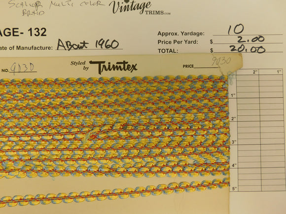 Card of Scalloped MultiColor Braid (approx. 10 yards)