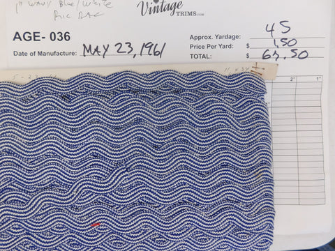 "Card of 1"" Wavy Blue and White RicRac (approx. 45 yards)"
