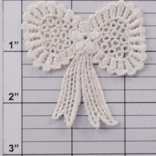 Embroidered bow applique