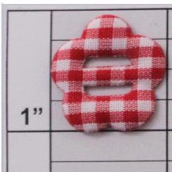 Gingham flower button applique 8 colors (6 per bag)