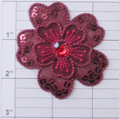 "2-1/2"" sequined flower w/ beaded center 5 colors"