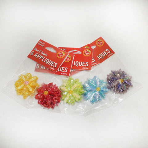 "2"" Bead & Sequin Applique 6 colors (6 per bag)"