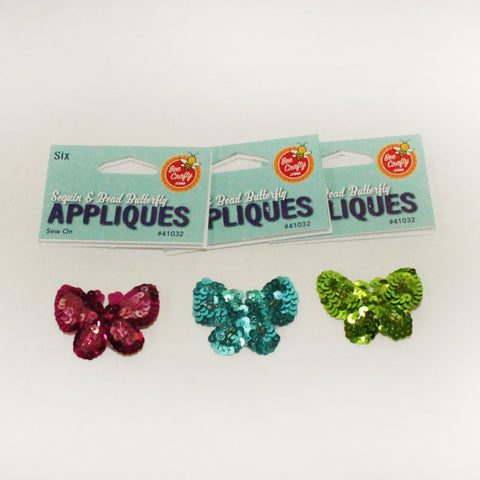 "2"" Sequin & Bead Butterfly Appliques 3 colors (6 per bag)"