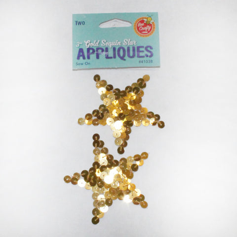 "3"" Gold Sequin Star Applique (2 per bag)"