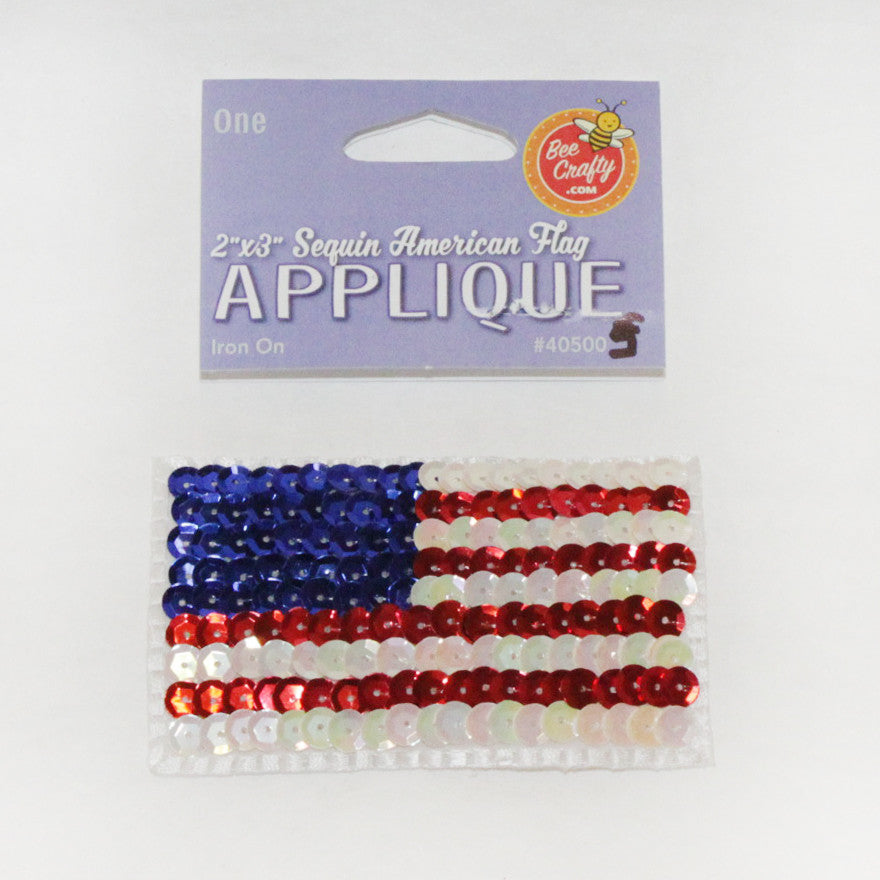 "2""x3"" Sequin American Flag Applique"