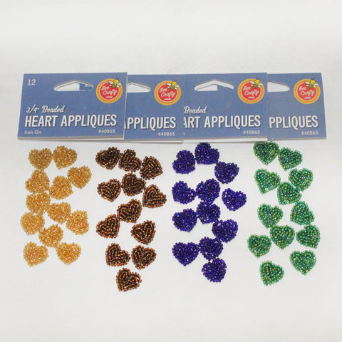 "3/4"" Beaded Heart Appliques"