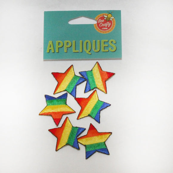Rainbow Star Appliques (pack of 6)