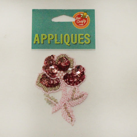 "3 1/2"" Bead & Sequin Flower Applique"